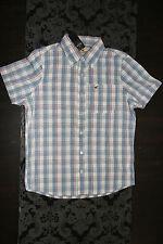 HOLLISTER Herren kurzarm Hemd Blau Rot Weiß Größe M Neu mit Etikett