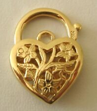 GENUINE SOLID 9K  9ct YELLOW  GOLD  FILIGREE  HEART PADLOCK  CLASP