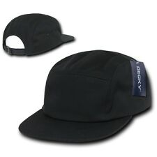 Black Racing Classic Low Profile Jockey Running 5 Panel Adjustable Cap Hat Hats