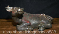 "10.8 ""Ancien Chine Bronze Folk Feng Shui Zodiaque Animal Boeufs Richesse Statue"