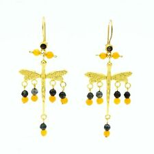 Aylas Dragonfly earrings - 21ct Gold plated semi precious gemstone - Handmade in