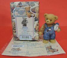 2000 Cherished Teddies Bradley Boy With Overalls And Snowman Figurine 706833