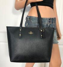 Coach City Zip Tote Black Crossgrain Leather Shoulder Bag F58846 NEW $298
