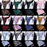 Mens Silk Paisley Cravat Ascot Set Black Blue Burgundy Red Gold Pink Gray Cravat