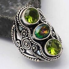 Mystic Topaz Peridot Ethnic Handmade Ring Jewelry US Size-8.25 AR 64383