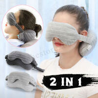 Neck Pillow Eye Mask Portable Travel Head Cushion Flight Airplane Rest Sleep