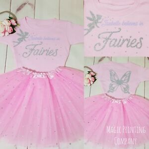 Girls Birthday Fairy Outfit Personalised Top Tutu WINGS ON BACK Costume Dress UK
