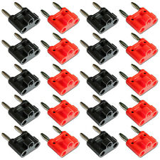 Twin Banana Plugs Dual Double Black Red 4mm Speaker Connectors x 10 Pairs