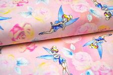 Disney Tinkerbell hiver USA Tissu Design 0,5 m Fée ELFES POESIE ROSES