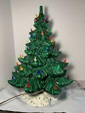 """Large Vtg Atlantic Mold Illuminated Ceramic Christmas tree 20"""" Speckled base"""