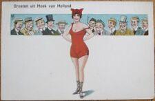 Bathing Beauty 1920s Risque Postcard: Eleven Men Watching Woman, Artist-Signed