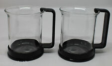 Bodum Brazil Set of 2 Hot Iced Glass Coffee Tea Mug Cups Black Switzerland