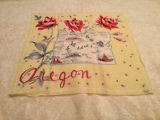 Vintage Ladies Souvenir State Handkerchief Hanky Oregon Unused NICE Tagged