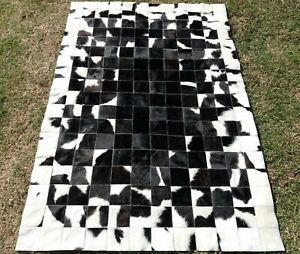 NEW COWHIDE PATCHWORK CARPET AREA Leather RUG Cow hide Black & White