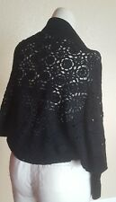 NWT Yarns Black Open Knit Cardigan Bolero Sweater coverup Size S MSRP $100