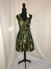Karen Millen mixed green floral dress siz 12