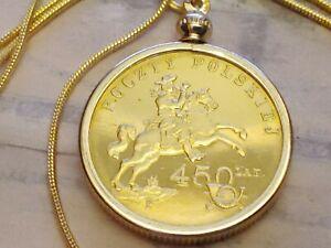 "2008 Polish 450th Postal Anniversary Coin Pendant w 18"" 18KGF Gold Filled Chain"
