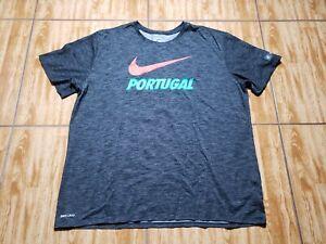 Nike Portugal Soccer Shirt Adult 2XL Gray Dri Fit Mens
