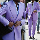 Men Light Purple Suits Formal Business Party Slim Fit Double-breasted Wide Lapel