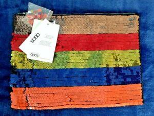 ASOS Multi Colour Sequin Stripe Clutch Bag BNWT's