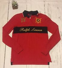 Polo Ralph Lauren St. Moritz Switzerland Rugby Polo Long Sleeve Shirt Size M Red