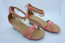 Wedge Sandal Coral Heel High Ankle Detail Shoes Sparkly UK 5 Embellished