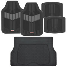 Motor Trend FlexTough 2-Tone Heavy Duty Rubber Floor Mats 5 PC Set - Gray