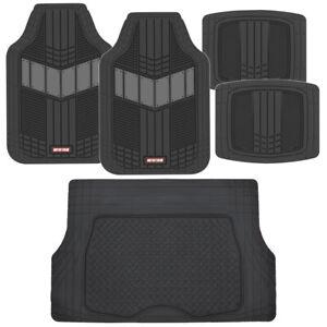 Motor Trend FlexTough 2-Tone Heavy Duty Rubber Floor Mats 5 PC Set - Gray