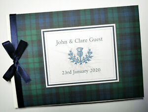 Scottish Black Watch Tartan personalised wedding guest book, album, gift