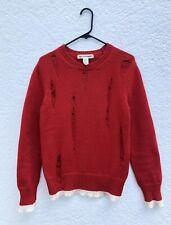 Comme des Garçons SHIRT Men's Red White Distressed Knit Crewneck Sweater Sz XS