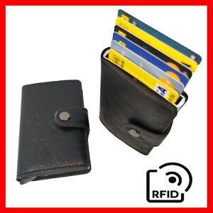 ✅ Porta Carte di Credito RFID Bancomat Pelle NERO MINI Portafoglio Uomo Con Clip