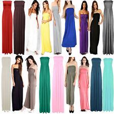 Womens Ladies Strapless Maxi Dress Bandeau Long Sheering Boob tube Lot Size 8-22