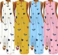 Plus Size Women V-neck Sleeveless Striped Butterfly Printed Summer Maxi Dress