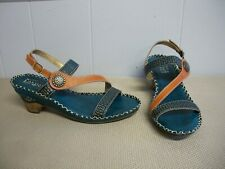 L'Artiste Spring Step DREAMER Blue Brown Tan Wedge Heel Sandals Size 40 9 - 9.5