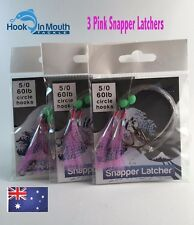 3 Surf Fishing Rigs Pink Paternoster - 60lb 5/0 Circle Hooks Snapper Salmon