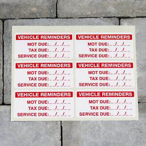 6 x Vehicle Service MOT TAX Reminder Stickers - Car - Bus - Etc - SKU5922