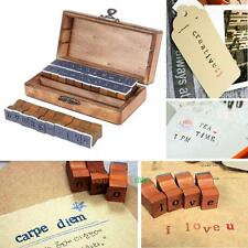 30pcs Retro Style Number Alphabet Letter Wood Rubber Stamp w/ Box Kid Toy Gift