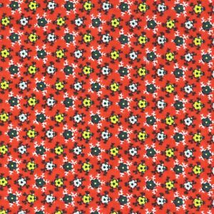 """1/2 Yard Vintage Fabric 41"""" Wide x 18"""" Red Yellow Black Floral"""