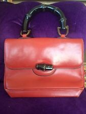 VINTAGE DESIGNER BUCHNER RED LEATHER BAMBOO HANDLE HANDBAG PURSE RARE ITALY