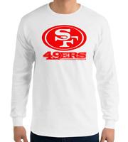 49ERS SAN FRANCISCO WHITE long sleeve T-Shirt RED Logo Unisex Adult S-2XL