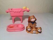 Fisher Price Loving Family Dog Mama Puppies Wash Tub Sink Food Dish