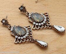 Woman's Brown Crystal Rhinestone Silver Plated  Long Ear Stud Hoop earrings 213