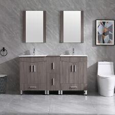 """60"""" Bathroom Vanity Wood Cabinet w/ Double White Sink &Faucet Shaker Vanity Base"""