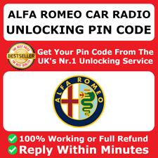 ALFA ROMEO RADIO CODE Giulietta Spider MiTo Giulia GT 166 164 159 146 147 155