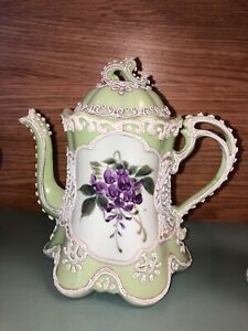 Antique Japanese Meiji Nippon moriage wisteria teapot creamer sugar tea set old