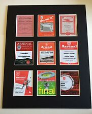 "ARSENAL FC RETRO POSTERS 14"" BY 11"" PICTURE MOUNTED READY TO FRAME"