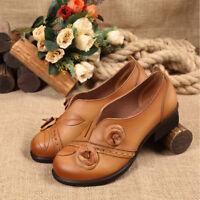 SOCOFY Women Retro Leather Flower Mid Heel Original Folkways Handmade Shoes Size