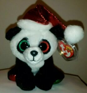 """Ty Beanie Boos - PANDY CLAUS the Holiday Panda Bear 6"""" (Claire's Exclusive) NEW"""