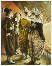 Old Time Circus Clowns, Dame Laura Knight vintage print 1980s ready mounted