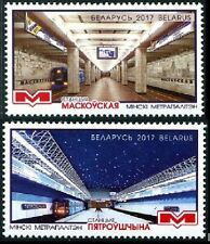 Minsk Railway Station set of 2 mnh stamps 2017 Belarus Train Subway